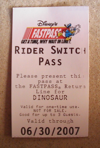 Walt Disney World Rider Switch / Baby Swap pass photo