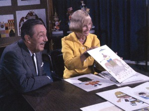 "Mary Blair and Walt Disney show ""it's a small world"" concept art"