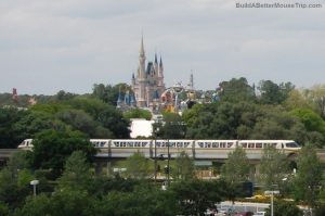 Cinderella's Castle and the Disney World Monorail - Magic Kingdom / Disney World / Orlando, Florida.