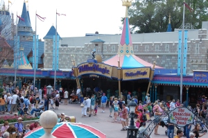 Crowds in the Magic Kingdom at Disney World.